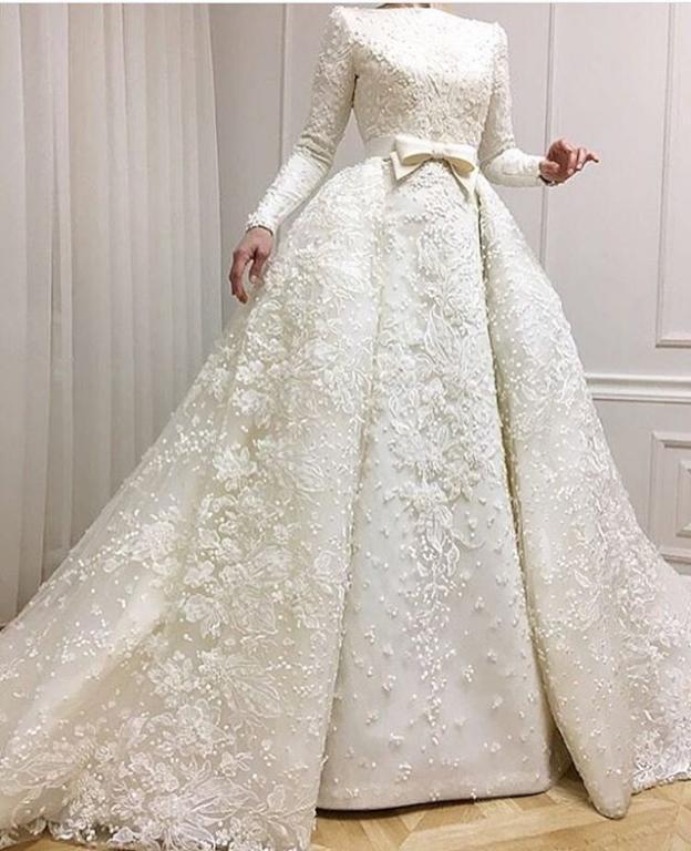 صورة فساتين اعراس للمحجبات , فساتين زفاف للبنات المحجبات