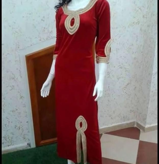 صورة قنادر قطيفة 2019 عراسي , اجمل تصميمات حديثة لفستان البيت القطيفة 2785 2