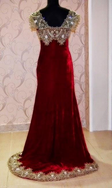 بالصور قنادر قطيفة 2019 عراسي , اجمل تصميمات حديثة لفستان البيت القطيفة 2785 3