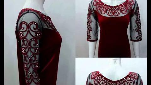 صورة قنادر قطيفة 2019 عراسي , اجمل تصميمات حديثة لفستان البيت القطيفة 2785 7