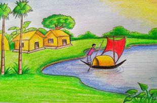 صور رسم منظر طبيعي للاطفال , مناظر طبيعية خلابة سهلة الرسم