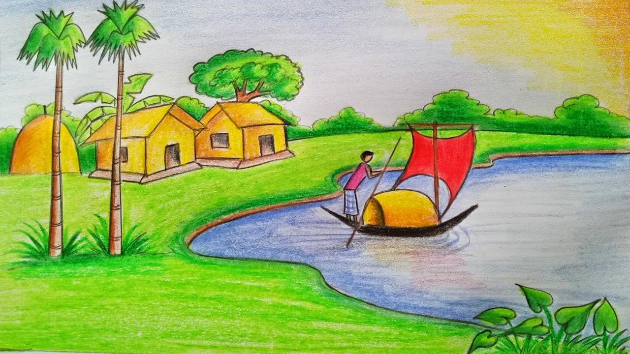 صورة رسم منظر طبيعي للاطفال , مناظر طبيعية خلابة سهلة الرسم