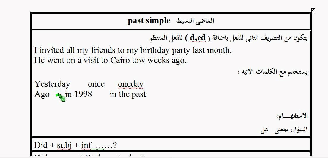 صورة شرح الماضي البسيط , دروس اللغة العربية والانجليزية 12602 1