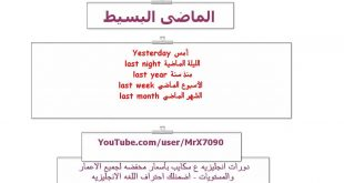 شرح الماضي البسيط , دروس اللغة العربية والانجليزية