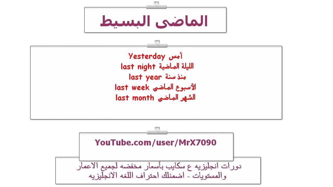 صورة شرح الماضي البسيط , دروس اللغة العربية والانجليزية 12602