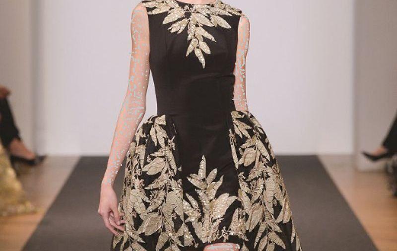 صورة فستان اسود وذهبي , اشيك فساتين الشهر