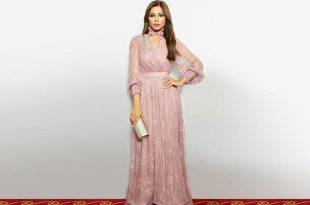 صورة فساتين سهرة محتشمة , تصميمات لفساتين سوارية للمحجبات